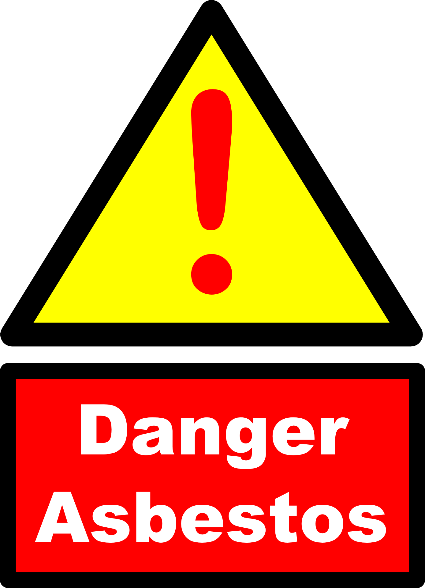 """Danger Asbestos"" sign"
