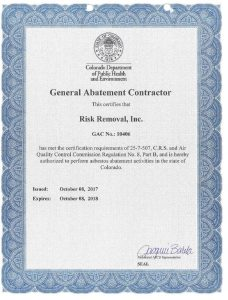 Risk Removal General Abatement Contractor Certificate