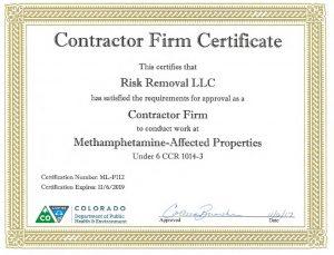 Colorado Meth Contractor Certificate