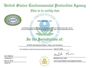 Risk Removal EPA Lead Paint renovation, repair and painting certificate