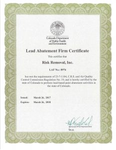 Risk Removal Lead Abatement Firm Certificate