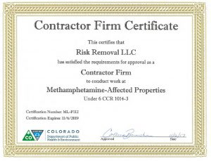 Colorado Meth Contractor Certificate